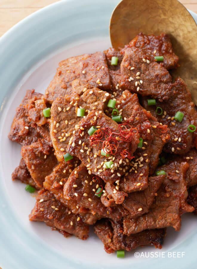 牛肉の韓国風スパイシー焼肉